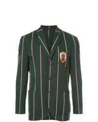 Темно-зеленый пиджак в вертикальную полоску