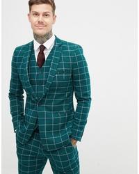 a86bdda3e119 Купить мужской темно-зеленый пиджак в клетку в интернет-магазине ...