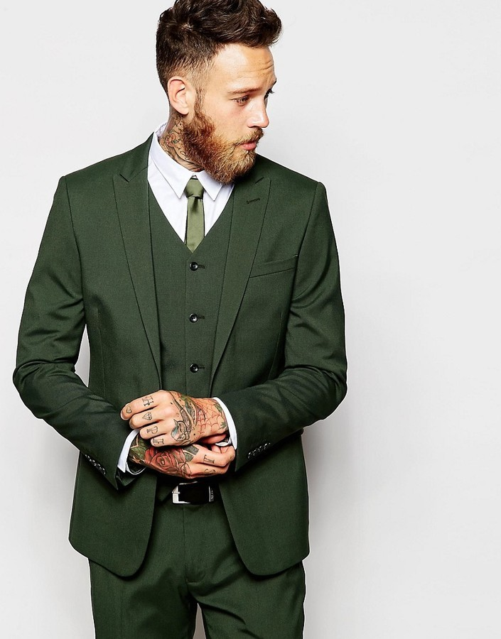 92e7713f364e Мужской темно-зеленый пиджак от Asos, 6 225 руб. | Asos | Лукастик