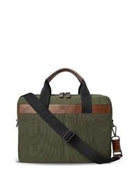 Темно-зеленый портфель из плотной ткани