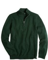 Темно-зеленый свитер с воротником на молнии