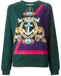 Темно-зеленый свитер с круглым вырезом с принтом