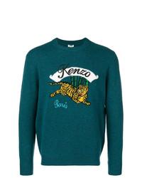 Мужской темно-зеленый свитер с круглым вырезом с принтом от Kenzo