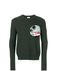 Мужской темно-зеленый свитер с круглым вырезом с принтом от Saint Laurent