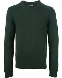 Темно-зеленый свитер с круглым вырезом