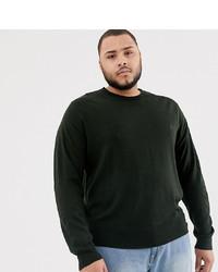 Мужской темно-зеленый свитер с круглым вырезом от French Connection