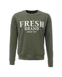 Мужской темно-зеленый свитер с круглым вырезом от Fresh