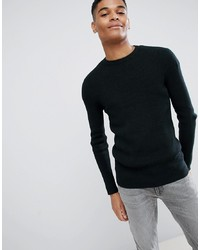 Мужской темно-зеленый свитер с круглым вырезом от New Look