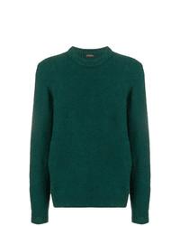 Мужской темно-зеленый свитер с круглым вырезом от Roberto Collina
