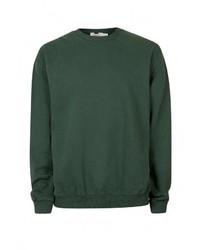 Мужской темно-зеленый свитер с круглым вырезом от Topman