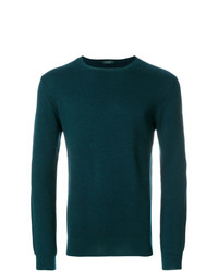 Мужской темно-зеленый свитер с круглым вырезом от Zanone