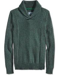 Темно-зеленый свитер с отложным воротником