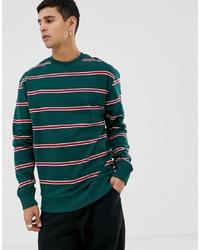 Мужской темно-зеленый свитшот в горизонтальную полоску от New Look