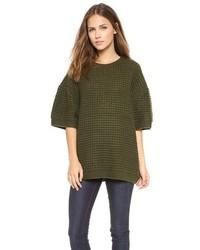 Темно-зеленый свободный свитер