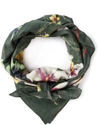 Темно-зеленый шарф с принтом