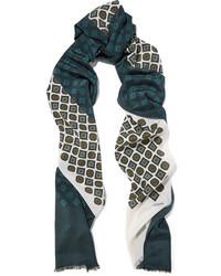 Женский темно-зеленый шарф с принтом от Lanvin