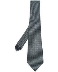 Мужской темно-зеленый шелковый галстук в горизонтальную полоску от Z Zegna