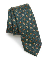 Темно-зеленый шелковый галстук с цветочным принтом