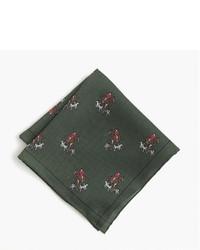 Темно-зеленый шелковый нагрудный платок