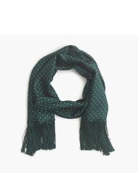 Темно-зеленый шелковый шарф в горошек
