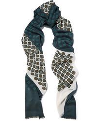 Женский темно-зеленый шелковый шарф с принтом от Lanvin