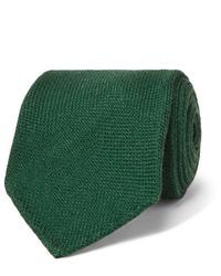 Мужской темно-зеленый шерстяной галстук от Drake's