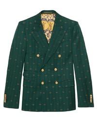 Темно-зеленый шерстяной двубортный пиджак