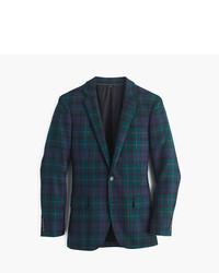 Темно-зеленый шерстяной пиджак в шотландскую клетку