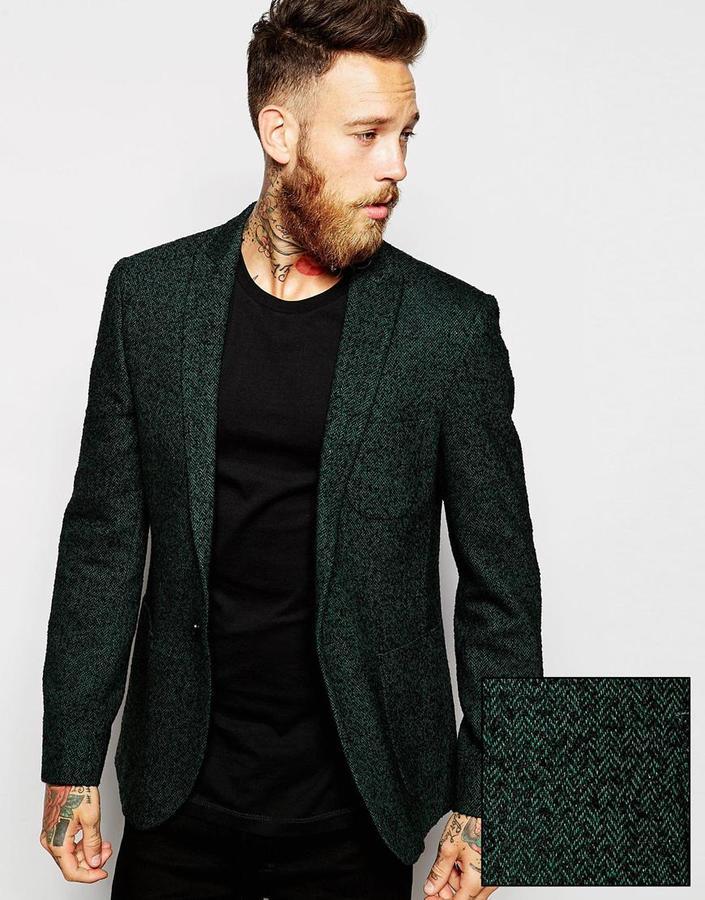 24424a66bab7 Мужской темно-зеленый шерстяной пиджак от Asos, 8 110 руб. | Asos ...