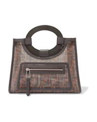 Темно-коричневая большая сумка из плотной ткани с принтом от Fendi