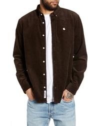 Темно-коричневая вельветовая рубашка с длинным рукавом