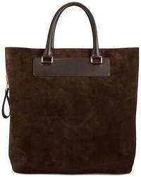 Темно-коричневая замшевая большая сумка