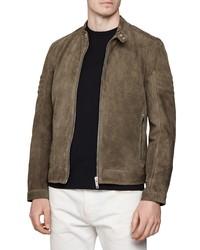 Темно-коричневая замшевая куртка харрингтон
