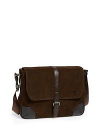 Темно-коричневая замшевая сумка почтальона