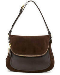 Темно-коричневая замшевая сумка через плечо