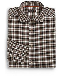 Темно-коричневая классическая рубашка в шотландскую клетку