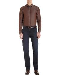 Темно-коричневая классическая рубашка