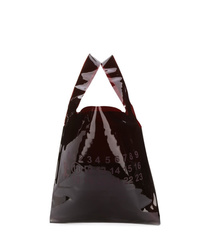 Темно-коричневая кожаная большая сумка с принтом