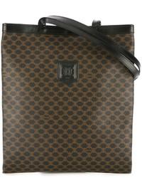 Женская темно-коричневая кожаная большая сумка с принтом