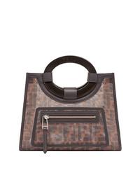 Темно-коричневая кожаная большая сумка с принтом от Fendi