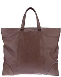 Мужская темно-коричневая кожаная большая сумка от Bottega Veneta