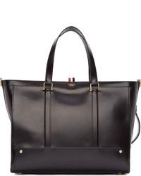 Мужская темно-коричневая кожаная большая сумка от Thom Browne
