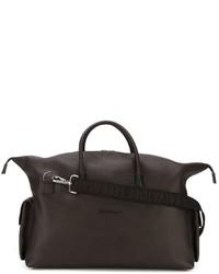 Мужская темно-коричневая кожаная дорожная сумка от Salvatore Ferragamo