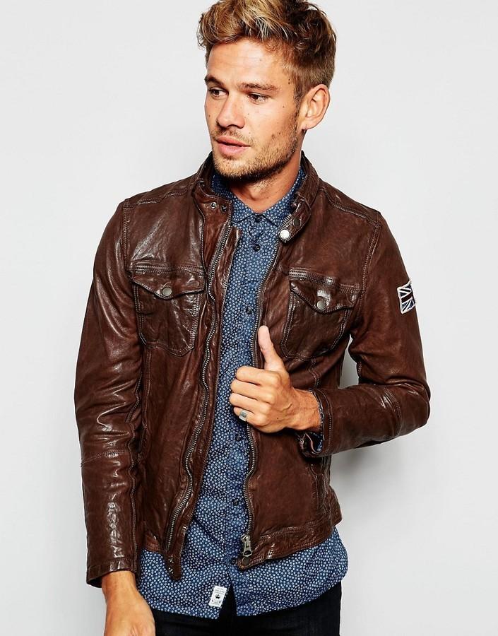 f3e43aaa605 ... Мужская темно-коричневая кожаная косуха от Pepe Jeans ...