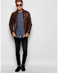 50bfc9bedb3 ... Мужская темно-коричневая кожаная косуха от Pepe Jeans