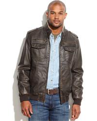 Мужская темно-коричневая кожаная куртка в стиле милитари от Tommy Hilfiger