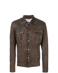 Темно-коричневая кожаная куртка-рубашка