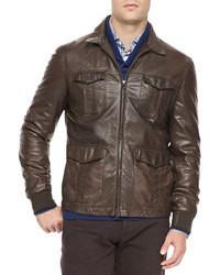 Темно-коричневая кожаная куртка с воротником и на пуговицах