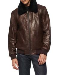 Темно-коричневая кожаная куртка харрингтон