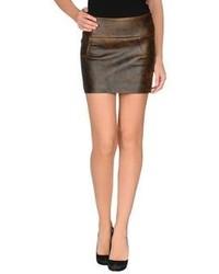 Темно-коричневая кожаная мини-юбка